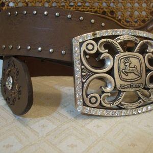 John Deere Rhinestone Buckle Leather Stud Belt
